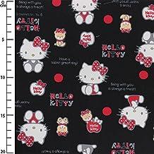 Tela infantil Sanrio Kiyohara - Hello Kitty Bear Dot Negro x10cm