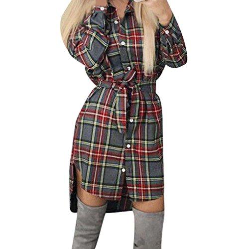 Damen Kleid FORH Lady Slim Karierte kleid Elegant Langarmshirt Knopf Hemdkleid Casual Reizvolle V-Ausschnitt Shirts MiniKleid Mode PartyKleid Festkleid Wickelkleider Mit Gürtel (Grau, L) (Schleife Gürtel Button,)
