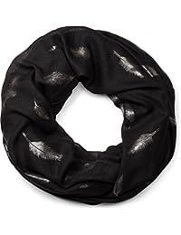 styleBREAKER Loop Schlauchschal mit glänzendem Metallic Feder Muster Print, Schal, Tuch, Damen 01016117