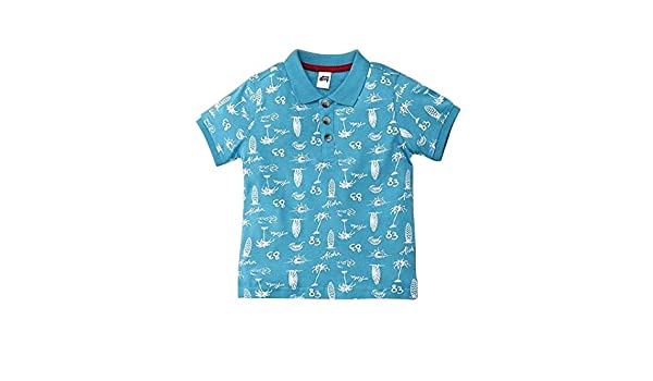 b1ac91ff SPRING BUNNY - Cotton ' Beach ' Printed Boys Polo T-shirt: Amazon.in:  Clothing & Accessories