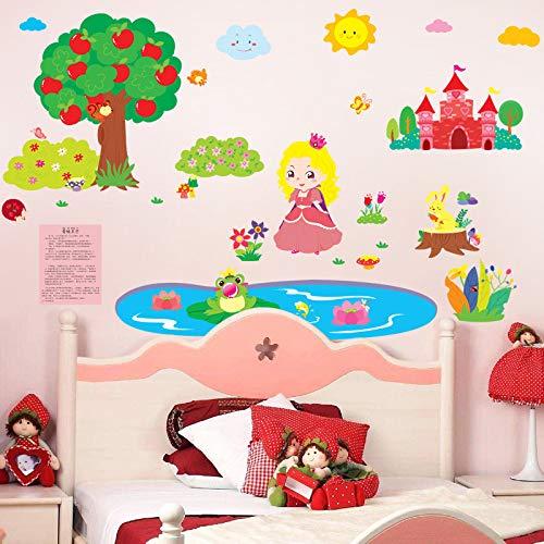 Hongrun Froschkönig Kleine Prinzessin Kindergarten Cartoon Kinderzimmer Früherziehung Allegory Geschichte Wandaufkleber Aufkleber 130 * 80 cm
