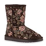 Stiefelparadies Warm Gefütterte Damen Schuhe Stiefeletten Blumen Schlupfstiefel Boots 127025 Dunkelbraun Amares 39 Flandell