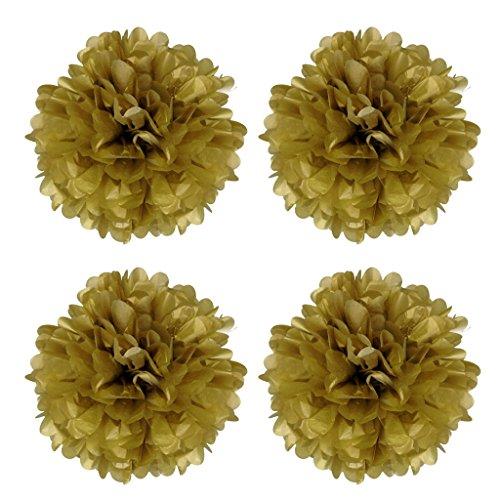 Blesiya 4 DIY Pompom Pompons Papierblumen Dekoration für Hochzeit/ Gebutztag/ Baby Shower/ Weihnachten Gold 30,5 cm