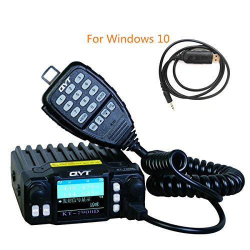 QYT KT7900D 25W Mini Quad Band, Quad stehen Mobile Transceiver-Viererkabel-Band 136-174/400-480MHz / 220-260MHz /350- 390MHz Amateurfunkradio+Programmierendem Kabel 7900D