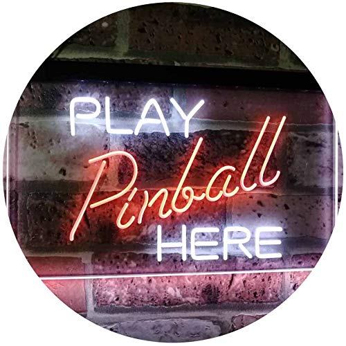 ADV PRO Pinball Room Play Here Display Game Man Cave Décor Dual Color LED Enseigne Lumineuse Neon Sign Blanc et Orange 600 x 400mm st6s64-i2619-wo