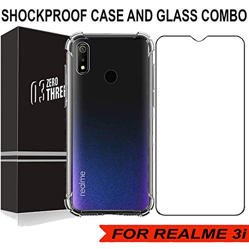 03® 2.5D 9H Anti-Fingerprints and Oil Stains Coating Hardness Tempered Glass Screen Protector with Shockproof Back Cover for REALME 3i (BUMPER COMBO)