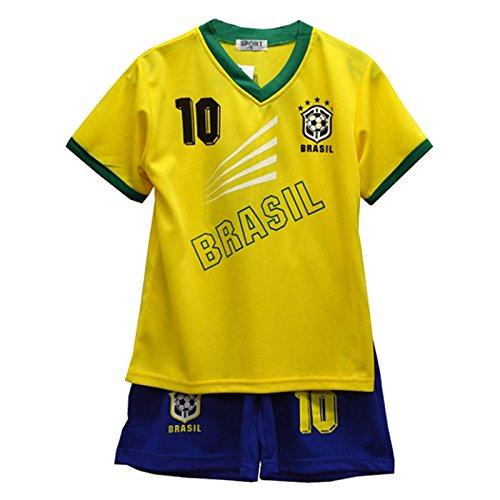 Completo estivo da calcio con pantaloncini e maglietta, da bambina, misure 2–12anni, bnwt blu brasile