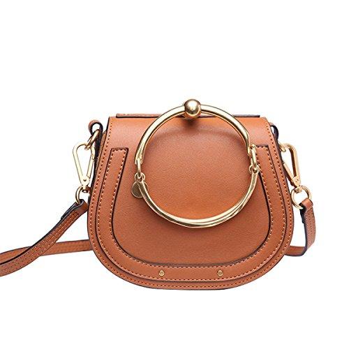 Preisvergleich Produktbild GSHGA Damen Echtes Leder Tasche Runde Ring Armband Handtasche Schulter Crossbody Sattel Retro Tasche,Brown