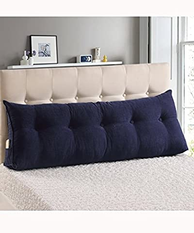 LIANJUN backrest pillow cushions Triangle Bedside Cushion Multi Purpose Pure/Simple Bed Head Support Pillow Single Double Soft Bag Large Size Backrest Reading With Soft Cover Removable Maternity & Body Pillows ( Color : Sapphire , Size : 150*25*50cm