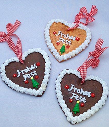 Treasured Memory 3 Lebkuchenherzen Lebkuchen Weihnachtsschmuck Weihnachsdeko Hänger Weihnachten Dekoration Advent Oktoberfest (Weihnachten Lebkuchen Dekoration)