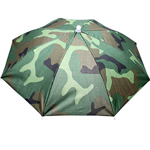 Paraguas de cabeza Westeng para el sol y la lluvia, para golf, pesca y acampada, 55 cm de diámetro, 1 unidad, verde