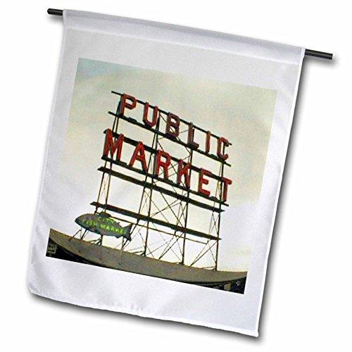 3dRose FL 14265_ 1Public Market Seattle Garten Flagge, 12von 18