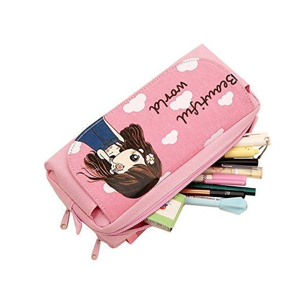 Estuche escolar o para cosméticos para niña, de Tininna, diseño con dibujo de niña