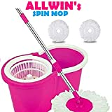 #6: ALLWIN's Home Cleaning 360° Spin Floor Cleaning Easy Advance Tech Bucket PVC Mop & Rotating Steel Pole Head with 2 Microfiber Refill Head (Pink)