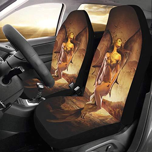 Reise Auto Abdeckung Dragon Queen Universal Fit Auto Autositzbezüge Schutzfolie Für Auto LKW SUV Fahrzeug Frauen Dame (2 Vorne) Auto Kissenbezug -