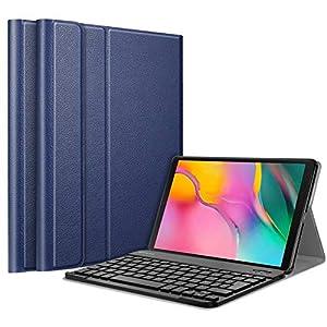 Fintie Bluetooth Tastatur(Französisch AZERTY) Hülle Compatible with Samsung Galaxy Tab A 10.1 2019 SM-T510/SM-T515, (Marineblau)