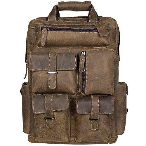 S-ZONE Herren Echtes Leder Handgefertigte von 15,6 bis 17 Inch Laptop Rucksack mit Mehreren Taschen Reisesporttasche (B-Hell Braun) - Handgefertigtes Leder-rucksäcke