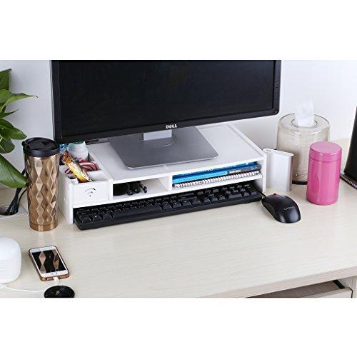 Finether Monitorständer Bildschirmständer Tischaufsatz Schreibtischaufsatz Schreibtischregalfür Monitorerhöhung Bildschirmerhöhung aus WPC weiß 48 x 20 x 10 cm - 3