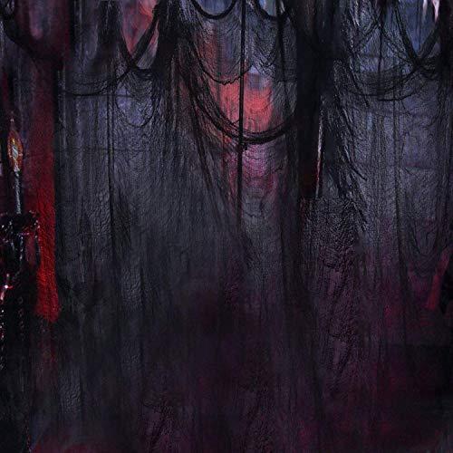 Schwarz Gruselige Tuch, Gruselige Halloween-Dekorationen, Halloween Spukhaus Party Dekoration Türöffnungen im Freien liefert, 315 '' X 79 '' - 3
