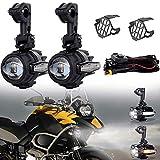 50W Motorrad LED-Zusatzscheinwerfer Nebelscheinwerfer + DRL + Gelber Lichtblinker mit Schutzkabelsatz für Motorrad K1600 R1200GS F800GS DUCATI