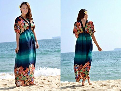 Smile YKK Femme Robe Longue Bohême Colonne V Col Imprimée Floral Casual Beach Multicolore