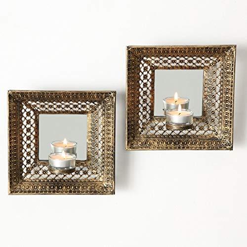 Home Collection - Candelabro Pared Espejo 2 Unidades