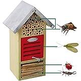 Hôtel à insectes, insectes, pour différents Insectes, avec toit en métal, 19x 14,5x 32cm