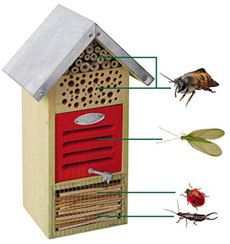 Insektenhotel, Insektenhaus, für verschiedene Insekten, mit Metalldach, 19 x 14,5 x 32 cm