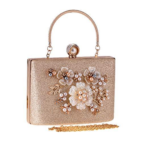 JBAG-one Frauen Blume Clutch Bag, Abendtaschen, Hochzeit Handtaschen, Clutch Geldbörse für Party,Metallic -