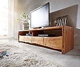 DELIFE Fernsehtisch Live-Edge Akazie Natur 230 cm 4 Schubkästen Baumkante Lowboard
