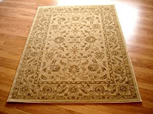 Afghan Ziegler Design Rugs 7709 Cream Traditional Rugs, 120 x 170 cm (4'0 x 5'7 ft)