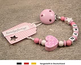 Baby SCHNULLERKETTE mit NAMEN   Schnullerhalter mit Wunschnamen - Mädchen Motiv Herz Ornament in rosa
