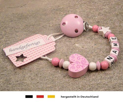 Baby SCHNULLERKETTE mit NAMEN | Schnullerhalter mit Wunschnamen - Mädchen Motiv Herz Ornament in rosa