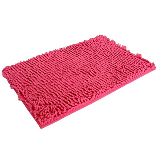 Alfombra de bano - SODIAL(R)Soft Shaggy antideslizante absorbente Alfombra de bano Bano Ducha estera 40*60cm (rosa)