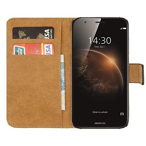Ambaiyi Flip Echt Ledertasche Handyhülle Brieftasche Hülle Schutzhülle für Huawei GX8 / Huawei G8 Hülle , Schwarz