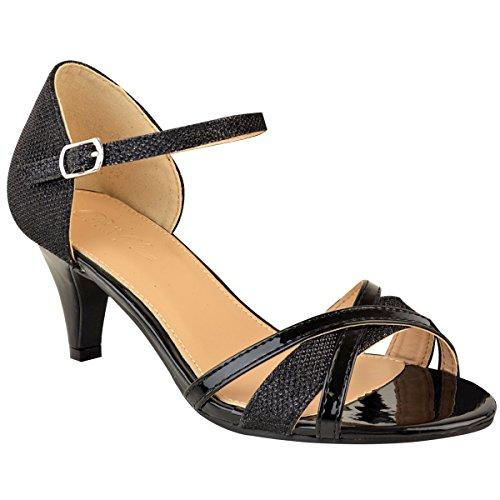 Damen Sandaletten mit Mittelhohem Absatz - Offener Zehenbereich - Schwarze Lackoptik - EUR 41
