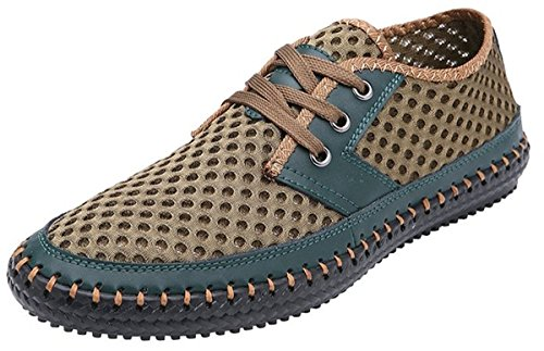 FSTOEE Men's Breathable Poseidon Mesh Walking Shoes Lightweight Casual Water Shoes Green(44) - Pure Advantage Air