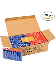 Looyat 200 Pieces Nerf Bullets Compatible Top Quality for Nerf N-strike Blaster Elite Series with Practical Storage Box Made of Solid Cardboard with Storage Hole for Nerf Darts