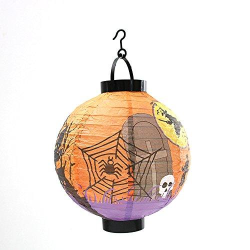 T Niedliche Fledermaus Kostüm - Filol Halloween-Hängelaterne aus Papier, Teleskop-Laterne mit LED-Licht, Partyzubehör, Dekoration, Spinnen-Geist, Kürbis-Laterne 21x22cm C