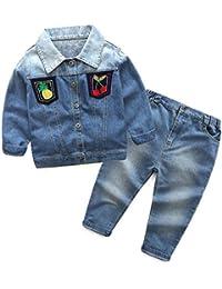Hawkimin Kid Baby Jungen Mädchen Outfit Kleidung Langarm Jean Mantel + Lange Hosen Hose Set