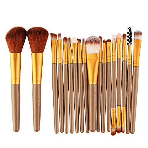 URSING Pinceaux de Maquillage Set de 18 Pièces Premium Coloré Fondation Mélange Blush Yeux Visage Poudre Brosse Cosmétiques Pinceaux Maquillage(D'or,Free Size)