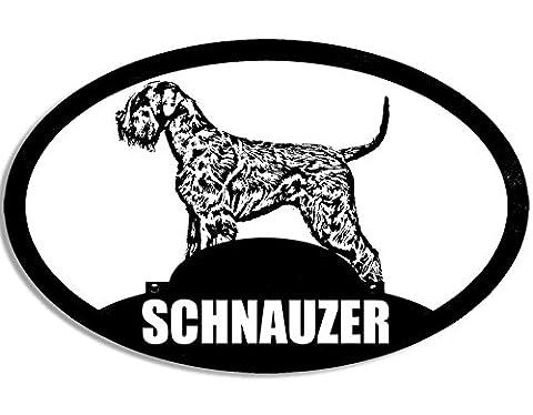 Schnauzer (ovale) moyen-duc Silhouette Sticker Chien pour chien (Allemand)