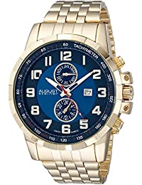 August Steiner Men's AS8153YGBU Yellow Gold Multifunction Swiss Quartz Watch With Blue Dial And Yellow Gold Bracelet