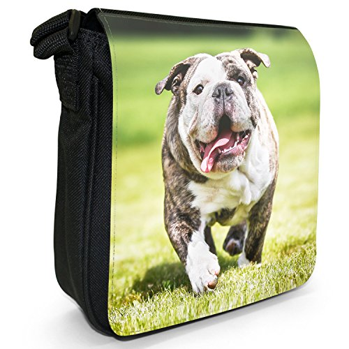 Britische Englische Bulldogge Kleine Schultertasche aus schwarzem Canvas Reinrassige Bulldogge in der Sonne