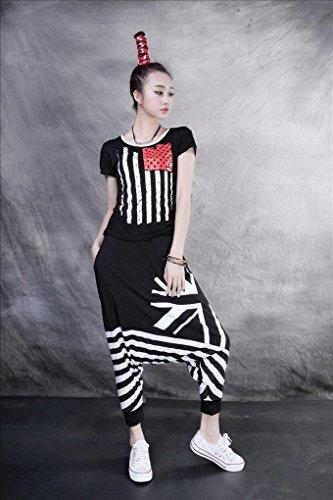 ACME - Femme Baggy Sarouel Hippie Pantalon Jazz Hip hop Jogger Danse Harem pants Sport pants Trousers Taille Unique Noir 1