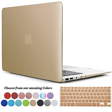 Coque MacBook Air 11 pouces,TECOOL [Ultra Mince Série] Plastique Mat givré Rigide Étui +Film de protection d'écran avec Housse de Clavier en Silicone pour MacBook Air 11.6 Modèle: A1370 and A1465 - Or