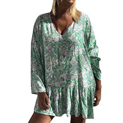 Pageantry Kleid Damen Langarm V Ausschnitt Lose Elegant Tshirtkleid Geraffte Kleider Blumendruck A-Linie Boho TunikaKleid Sexy Swing Blusenkleid Midikleid Skaterkleid - Neue Ankunfts-knit Kleid