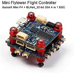 Sussex Mini F4 Control de Vuelo con OSD y 35A BLHeli_32 bits 4-IN 1 ESC Flytower Conjunto (F405 MCU FC, Integrado MPU6000 acelerómetro y el giroscopio)