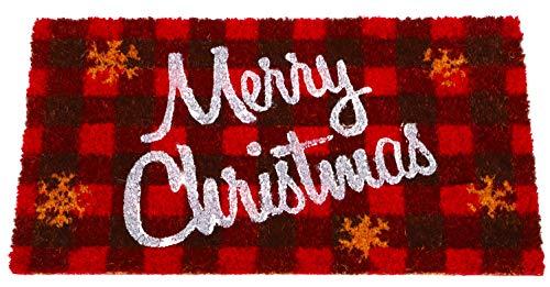 TOYLAND® Seasonal Red Tartan Merry Christmas Coir