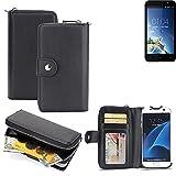 K-S-Trade 2in1 Handyhülle für Kazam Tornado 2 5.0 hochwertige Schutzhülle & Portemonnee Tasche Handytasche Etui Geldbörse Wallet Case Hülle schwarz